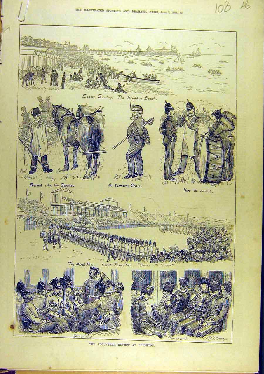 Print 1880 Volunteer Review Brighton Beach Military Ball 08A8761 Old Original