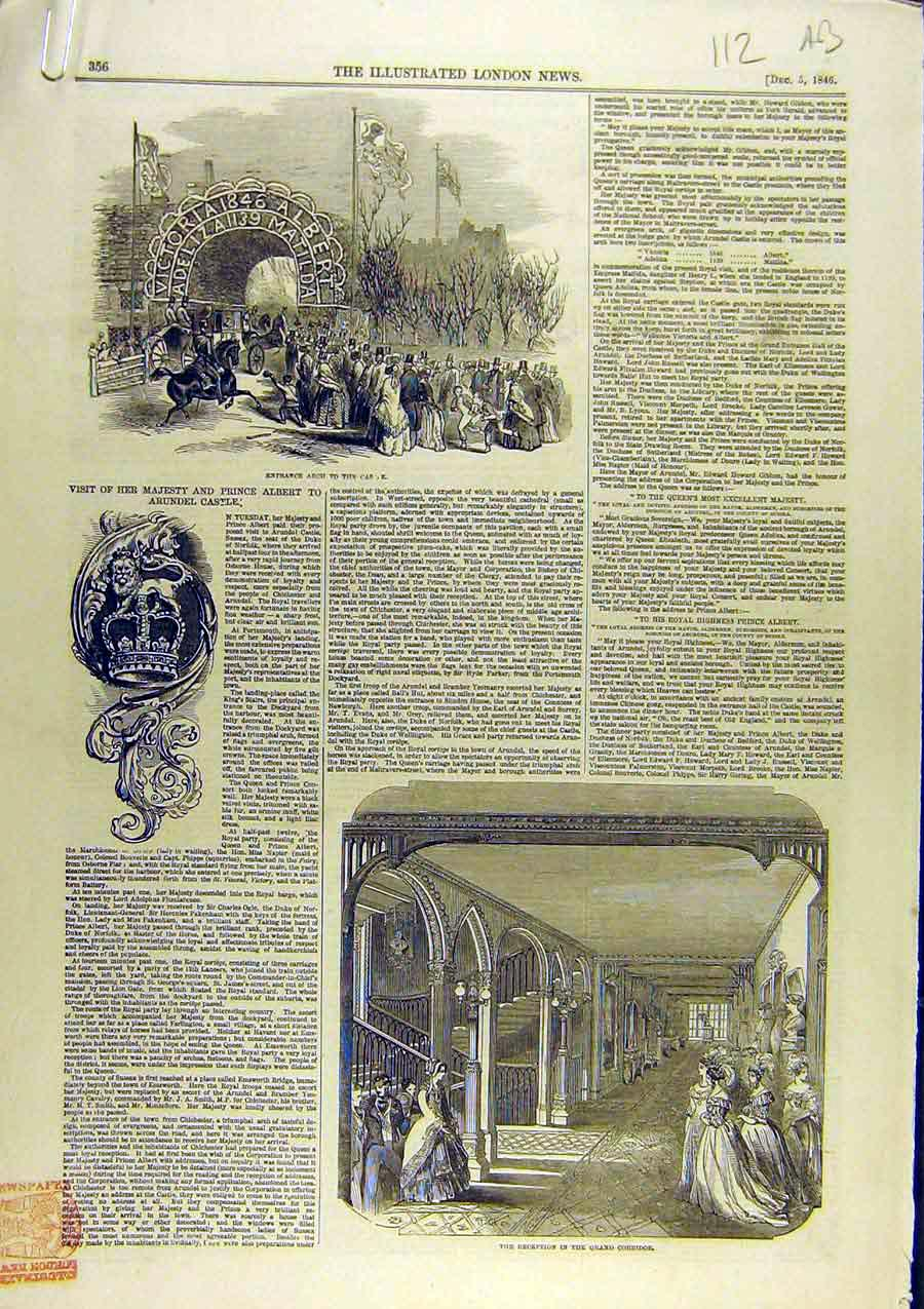 Print 1846 Arundel Castle Dairy Owls Royal Visit Sussex 12A8761 Old Original