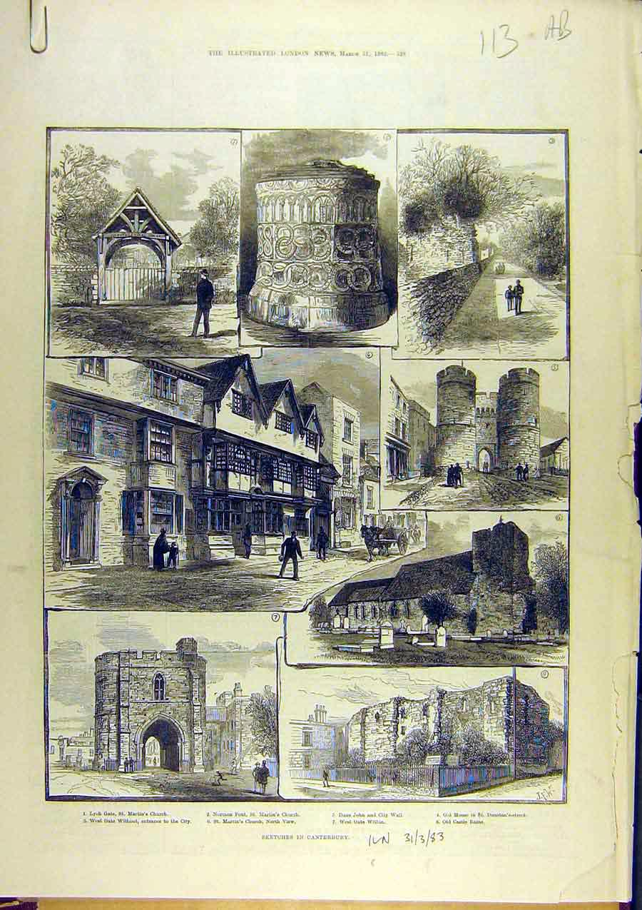Print 1883 Sketches Canterbury Church Buildings Cathedral 13A8761 Old Original