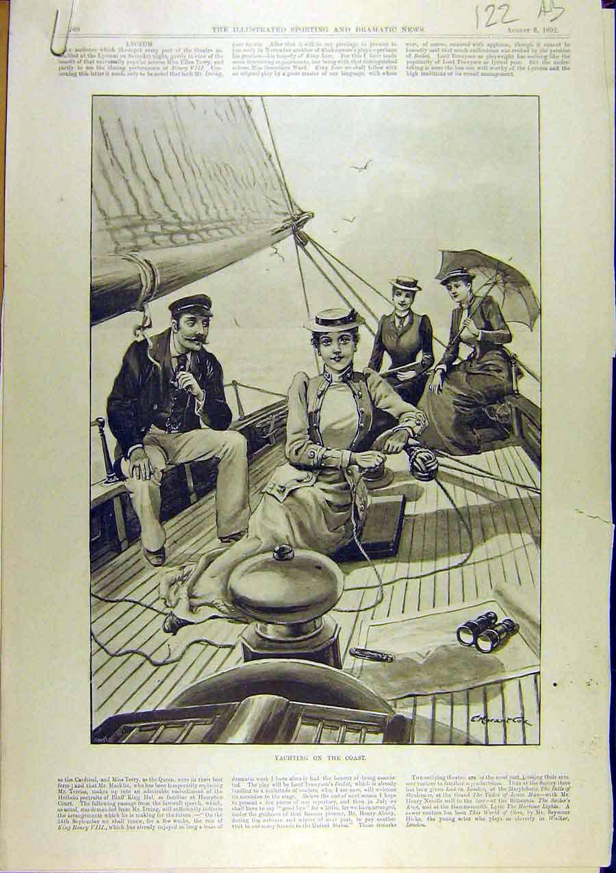 Print 1892 Yachting Sailing Coast Cruising Boat Yacht 22A8761 Old Original