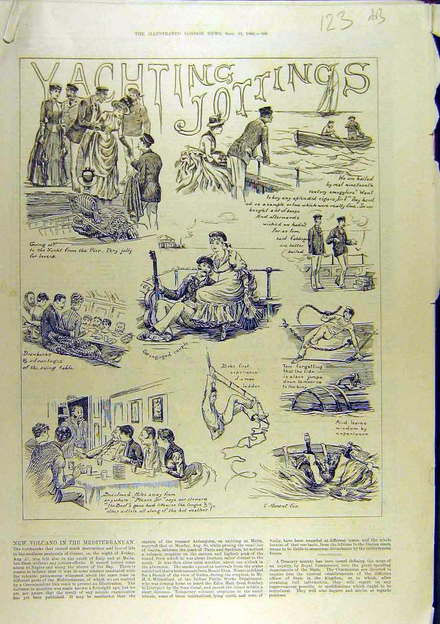Print 1886 Yacthing Sketches Yacht Sailing Sport 23A8761 Old Original