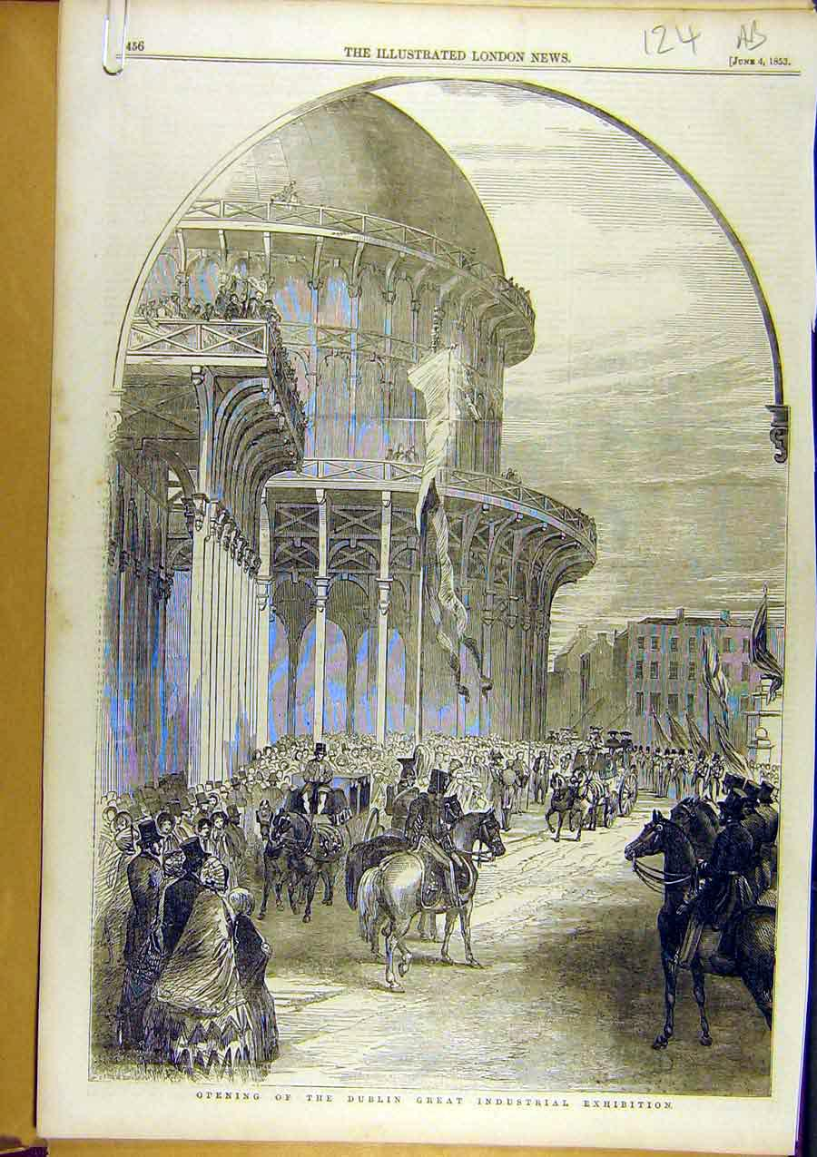 Print 1853 Dublin Industrial Exhibition Lord-Lieutenant 24A8761 Old Original