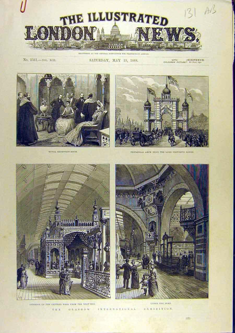 Print 1888 Glasgow Exhibition International Sketches 31A8761 Old Original