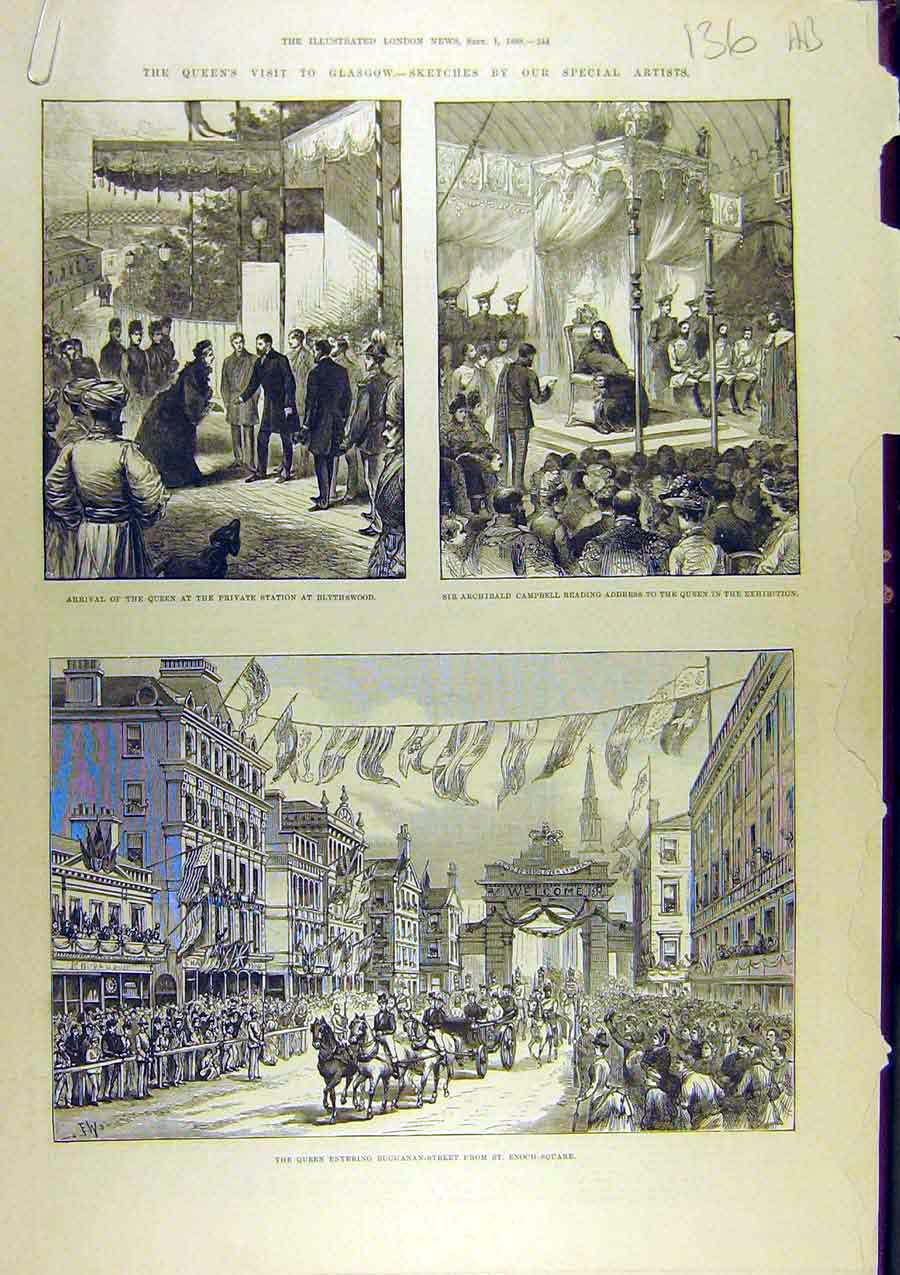 Print 1888 Queen Glasgow Blythswood Exhibition Clyde 36A8761 Old Original