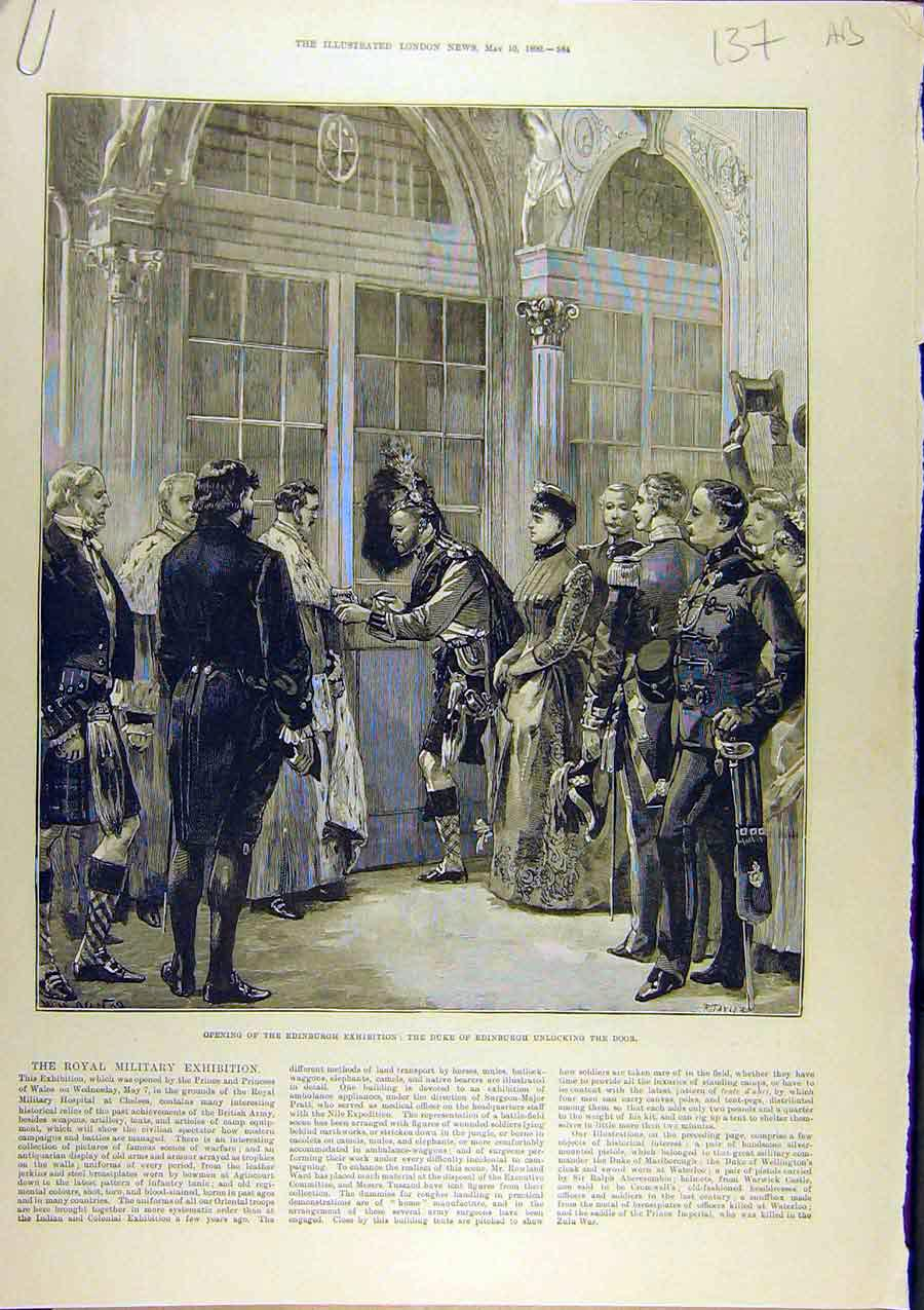 Print 1890 Edinburgh Exhibition Duke International Sketches 37A8761 Old Original