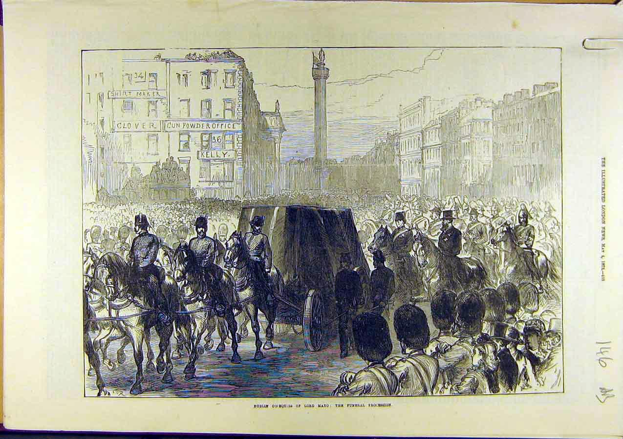 Print 1872 Dublin Osequies Lord-Mayo Funeral Procession 46A8761 Old Original