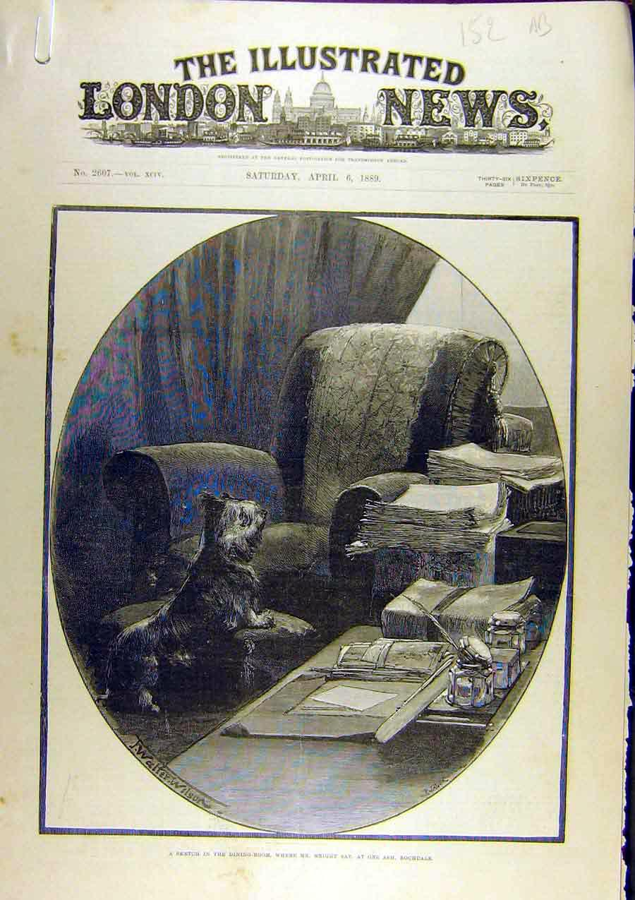 Print 1889 Sketch Dining Room Bright Rochdale Funeral 52A8761 Old Original