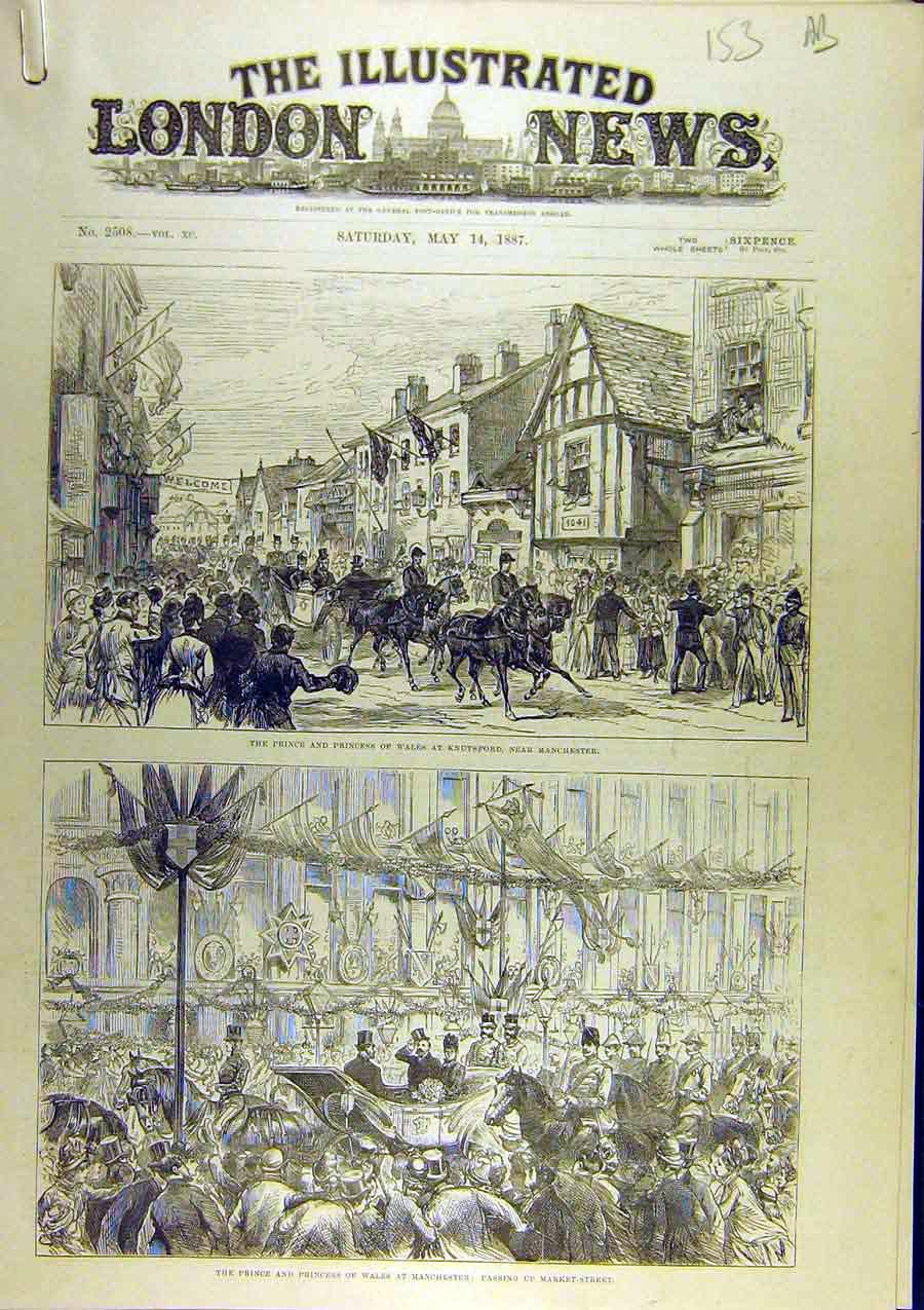 Print 1887 Prince Princess Wales Knutsford Manchester 53A8761 Old Original