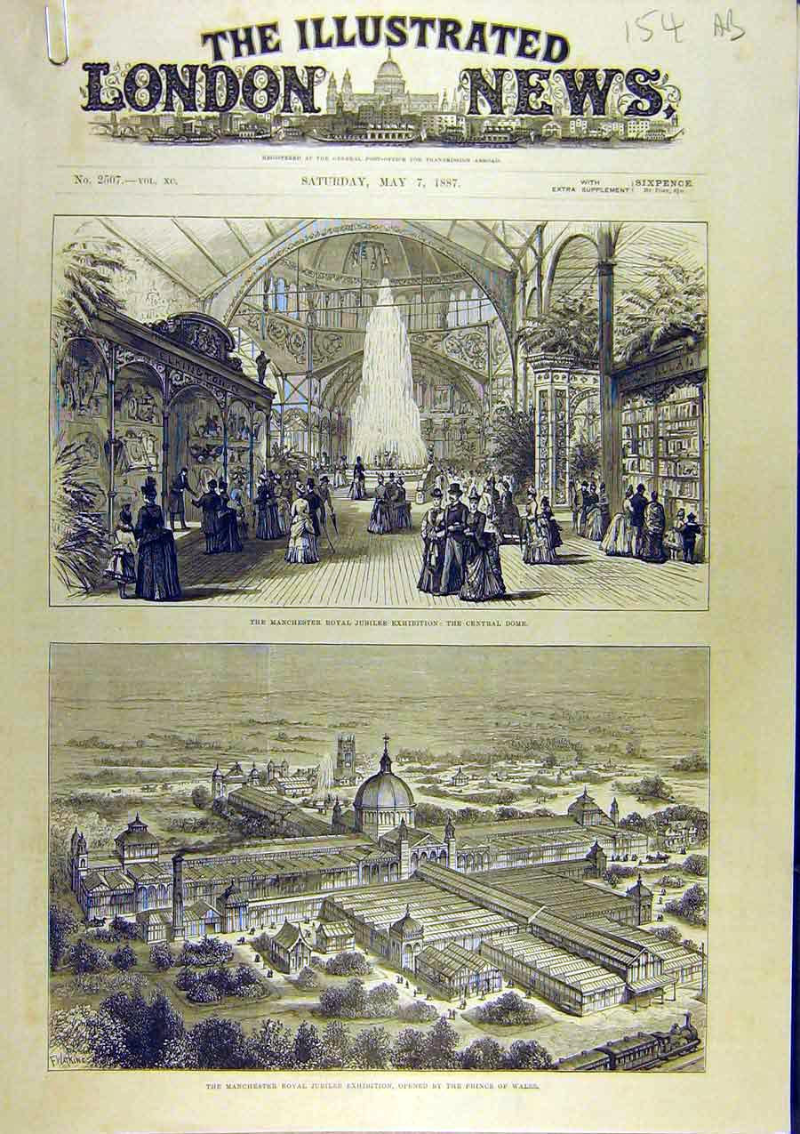 Print 1887 Manchester Royal Jubilee Exhibition Prince Wales 54A8761 Old Original