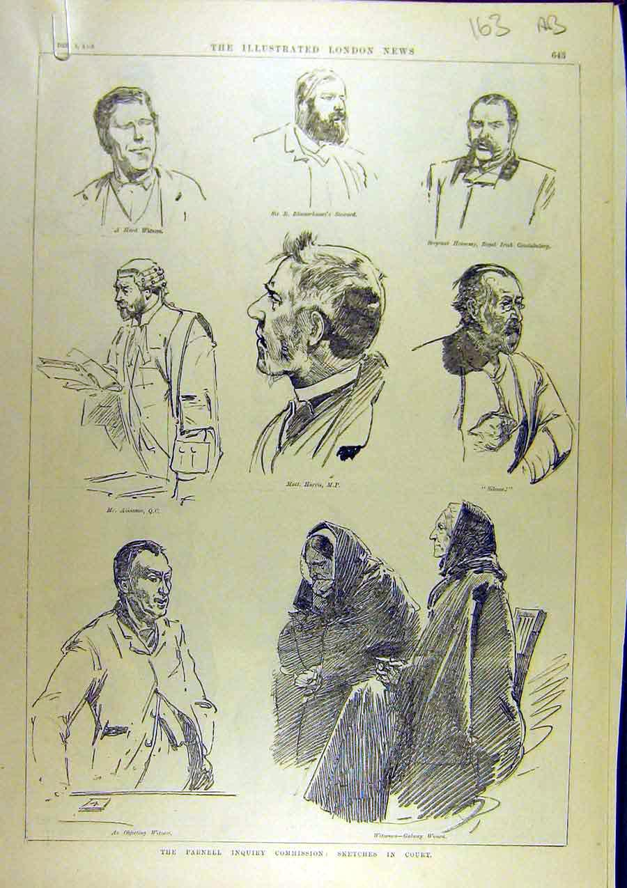 Print 1888 Parnell Inquiry Commission Sketch Court Liverpool 63A8761 Old Original