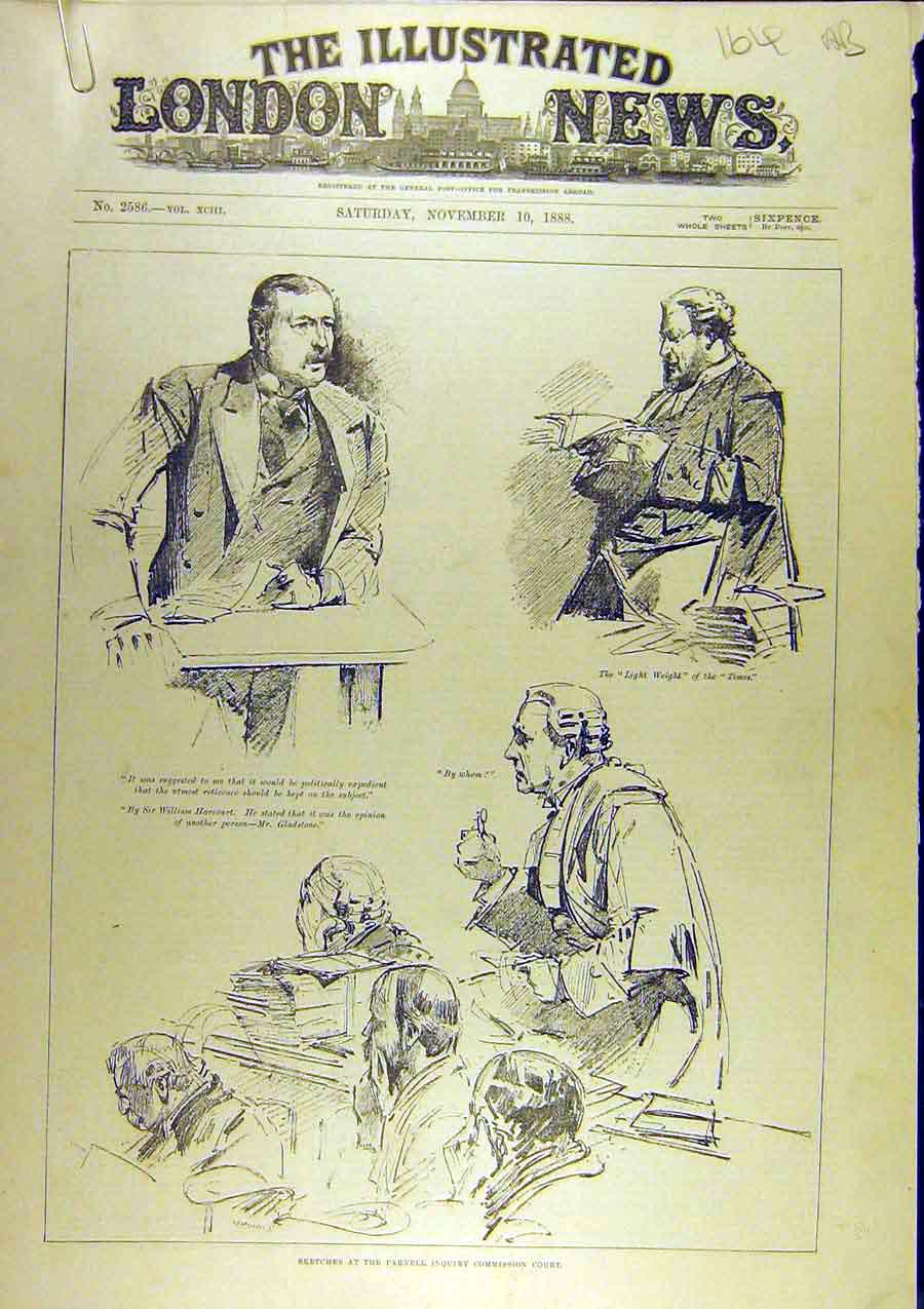 Print 1888 Sketches Parnell Inquiry Court Commission 64A8761 Old Original