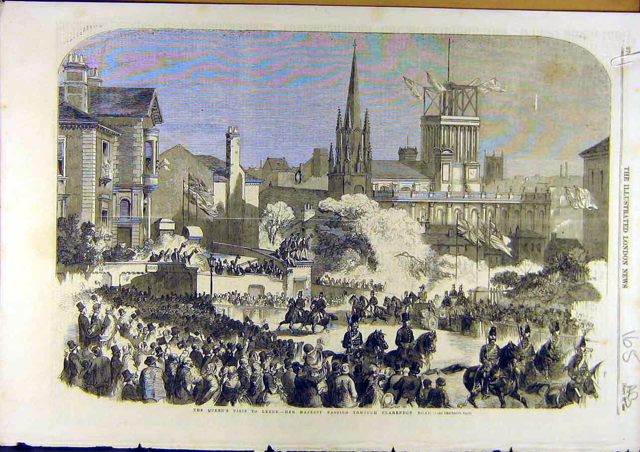 Print 1858 Leeds Royal Queen Clarendon Sunday-School Children 65A8761 Old Original
