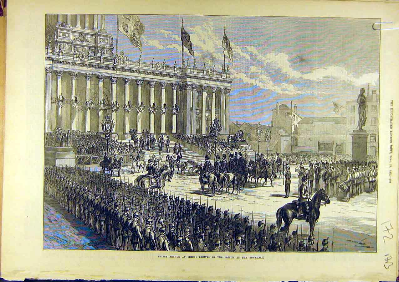 Print 1872 Prince Arthur Leeds Townhall Exchange Buildings 72A8761 Old Original