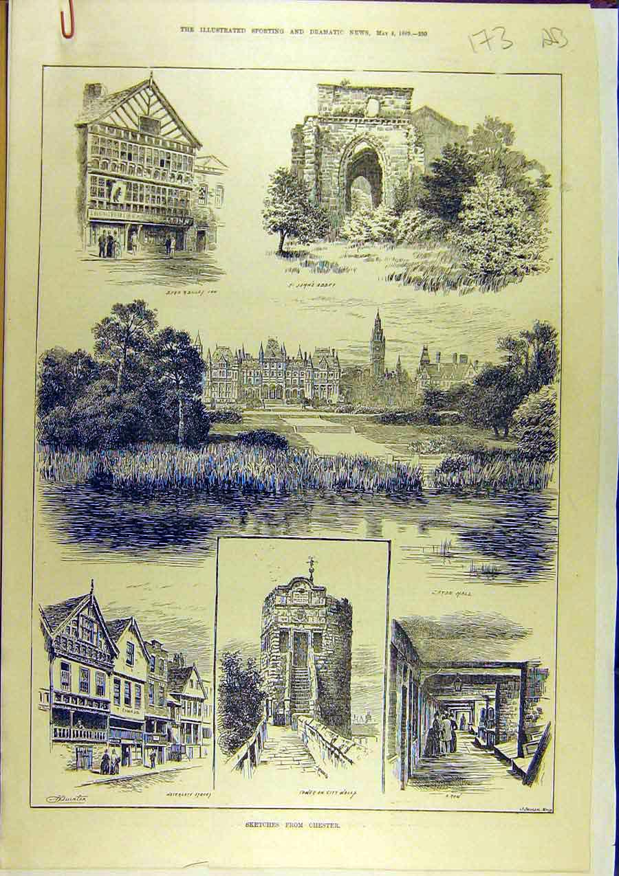 Print 1889 Sketches Chester Buildings Ruins Stanley Tower 73A8761 Old Original