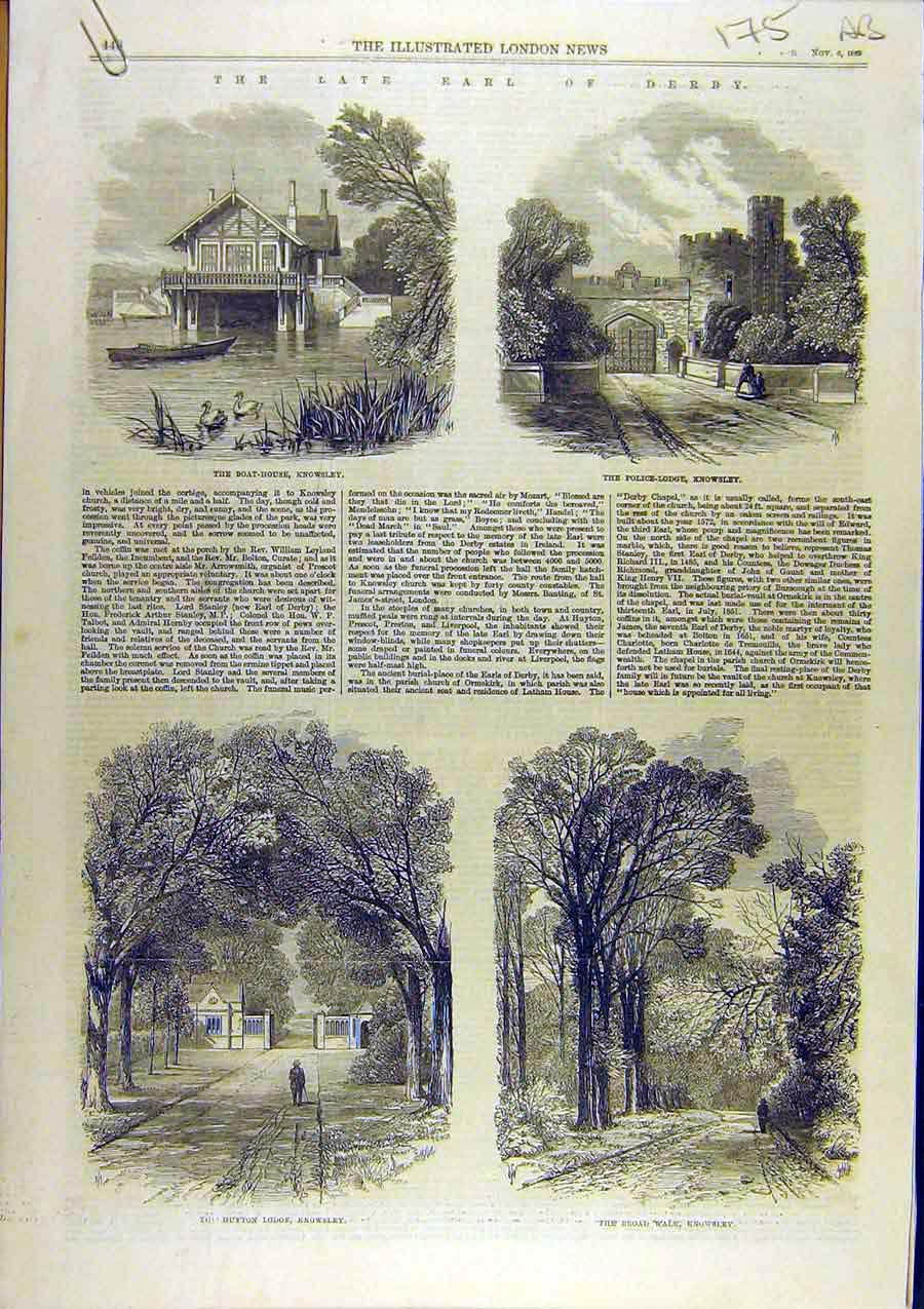 Print 1869 Earl Derby Knowsley Lodge Park Liverpool 75A8761 Old Original