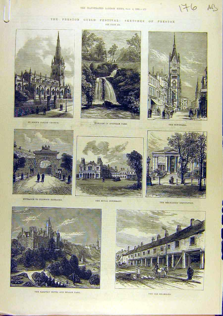 Print 1882 Preston Guild Festival Sketches Merchant 76A8761 Old Original