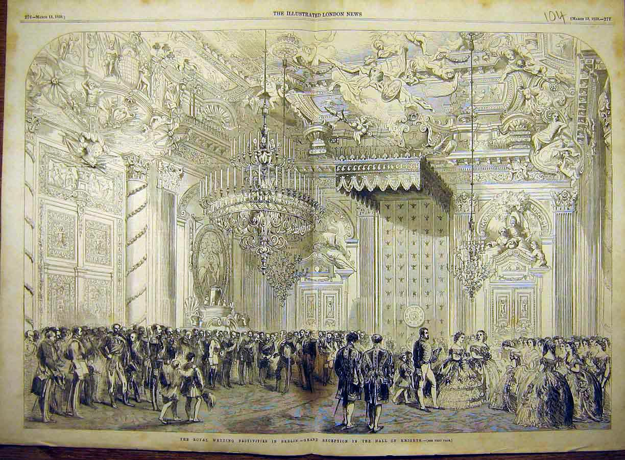 Print 1858 Royal Wedding Berlin Hall-Knights Festivities 04T8771 Old Original