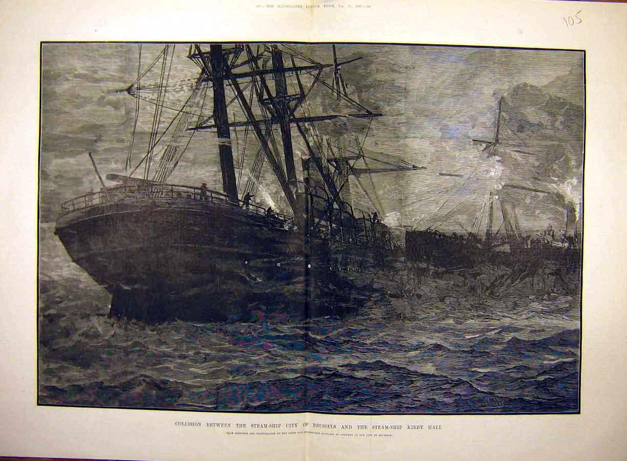 Print 1883 Steam-Ship City-Of-Brussale Kirby-Hall Collision 05T8771 Old Original