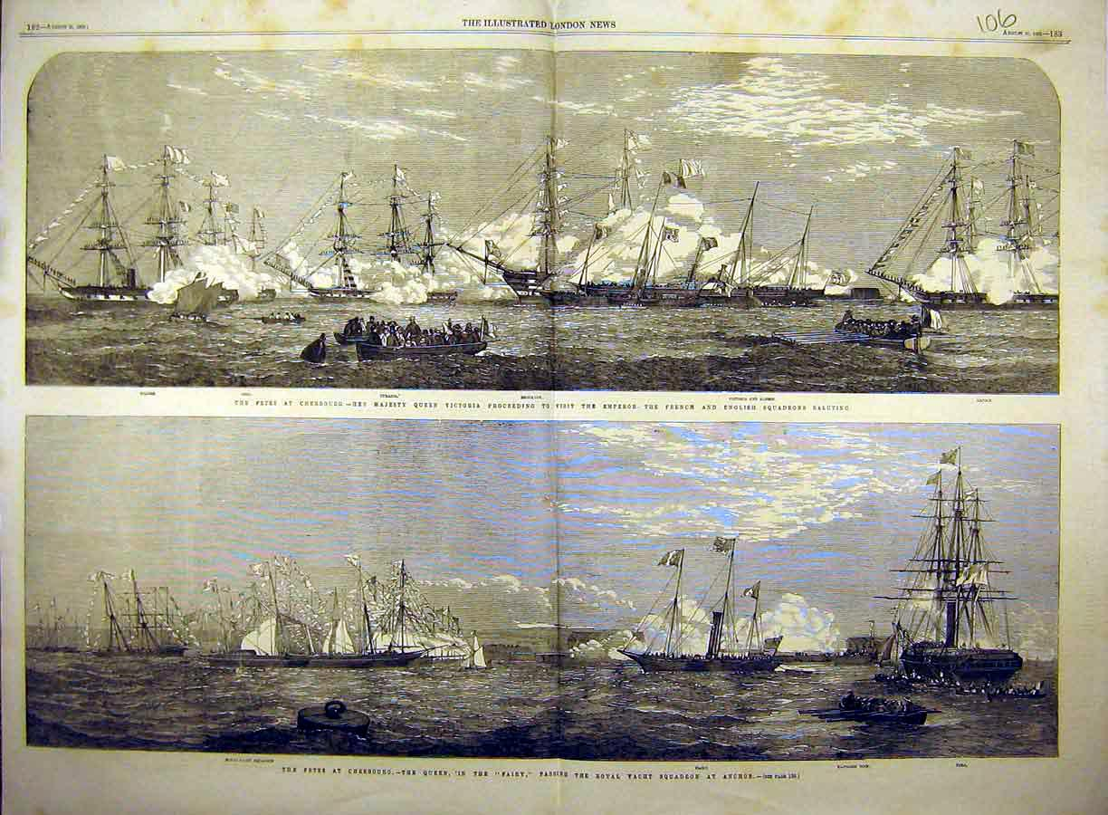 Print 1858 Fete Naval Cherbourg Squadron Fairy Queen Yacht 06T8771 Old Original