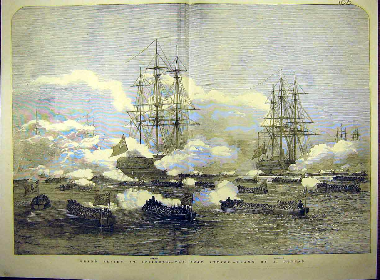 Print 1853 Grand Review Spithead Boat Attack Duncan 08T8771 Old Original