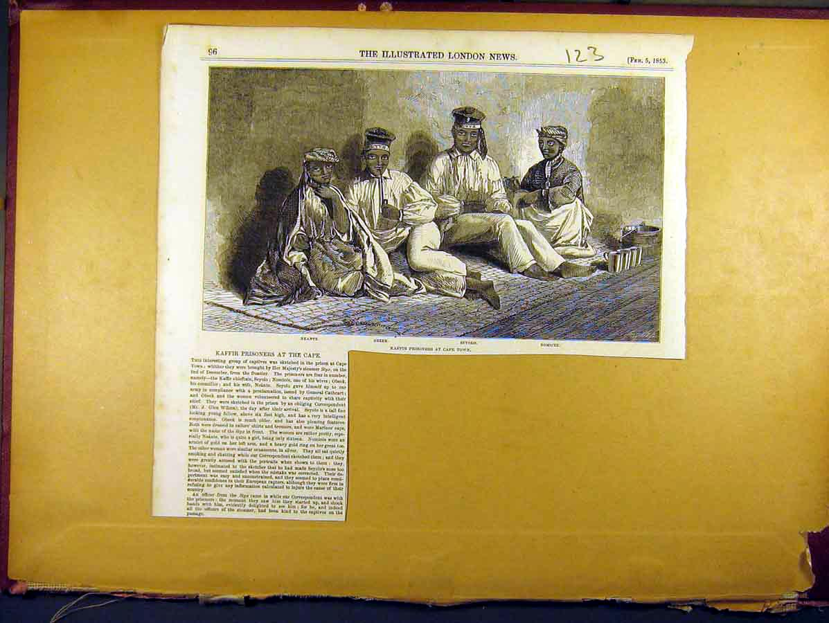 Print 1853 Kaffir Prisoners Cape Africa 238771 Old Original
