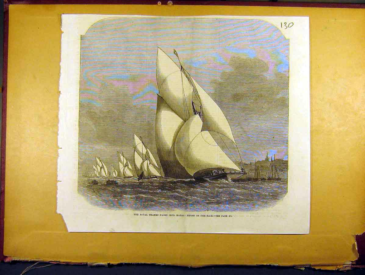 Print 1857 Royal Thames Yacht Club Match Race Finish 308771 Old Original