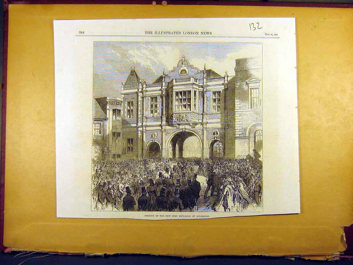 Print 1865 Opening New Corn Exchange Aylesbury 328771 Old Original