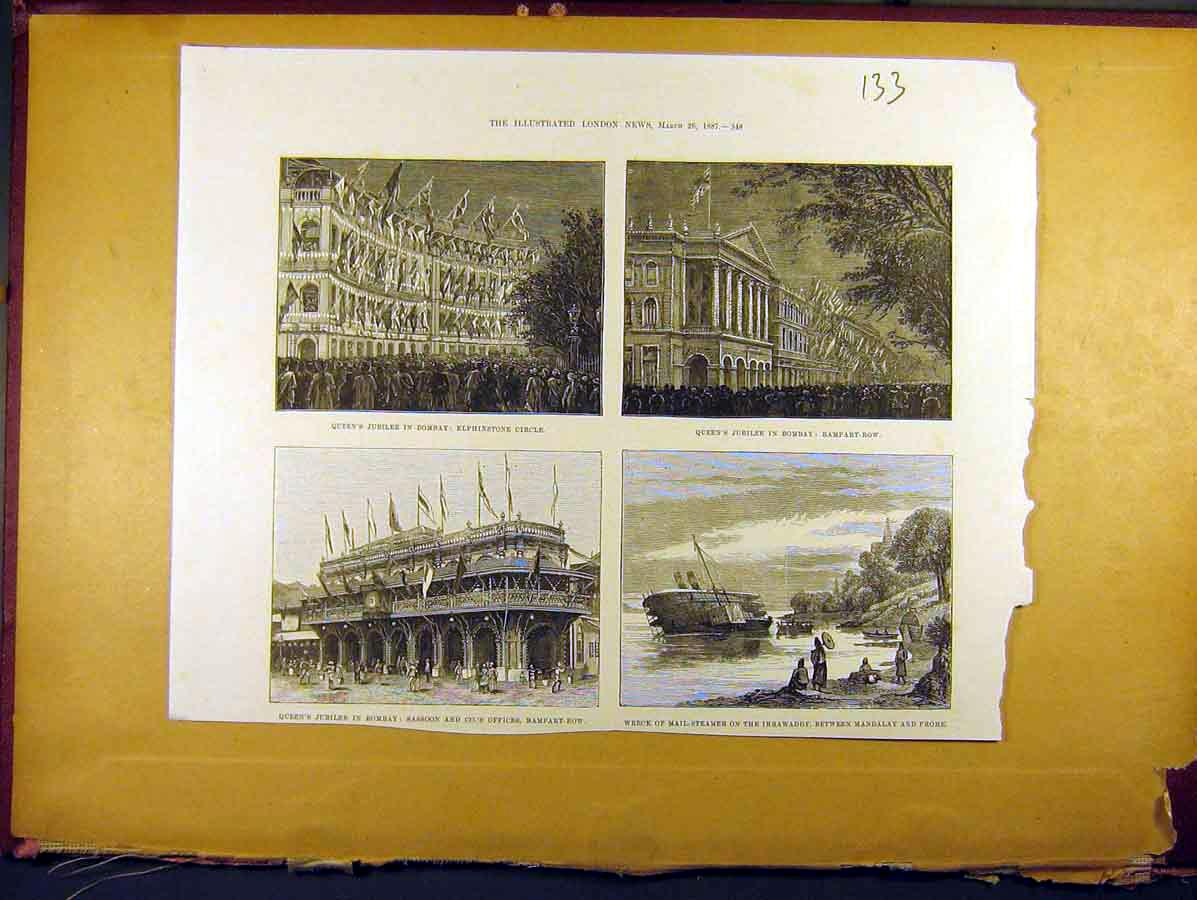 Print 1887 Queens Jubilee Bombay Rampart Row Elphinstone 338771 Old Original
