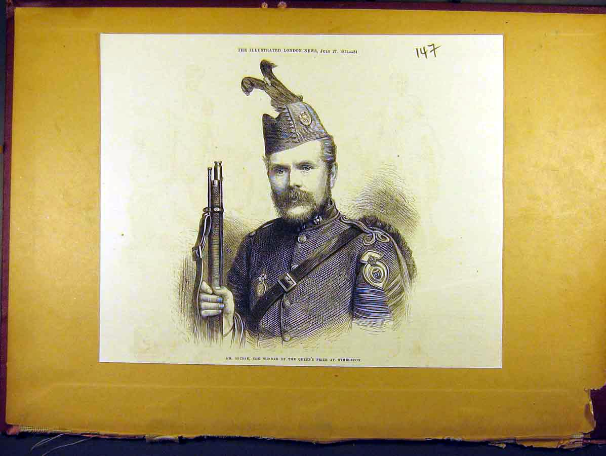 Print 1872 Portrait Soldier Michie Queens Prize Wimbledon 478771 Old Original