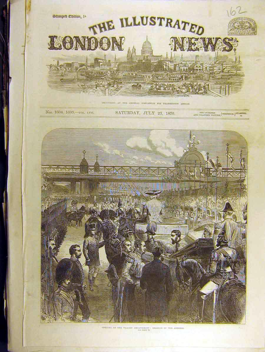 Print 1870 Opening Thames Embankment Reading Address 628771 Old Original