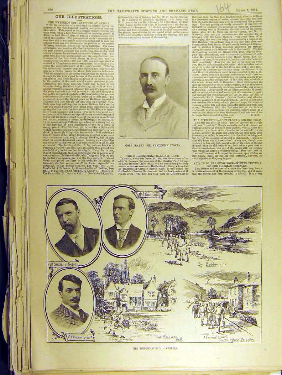 Print 1892 Portrait Golf Stokes Huddersfield Harriers 648771 Old Original