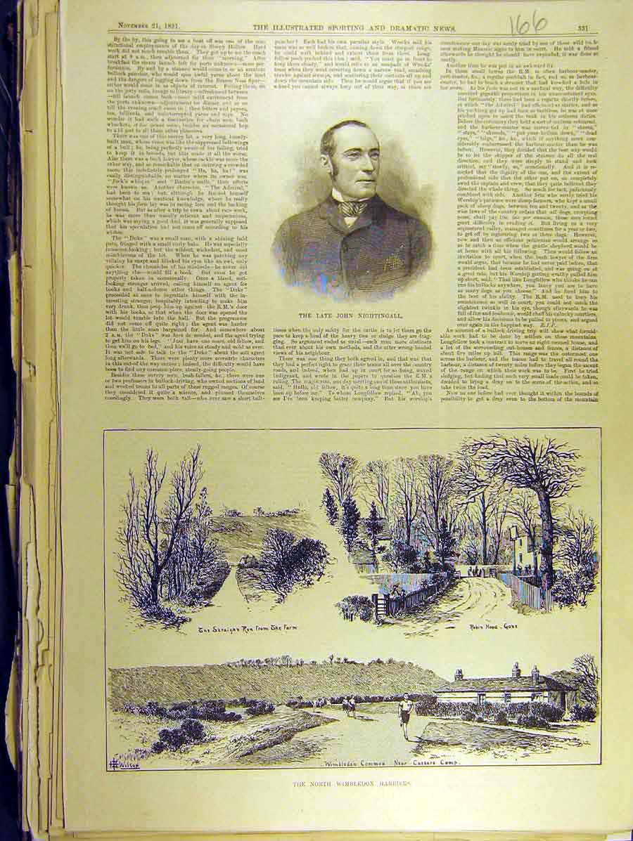 Print 1891 Portrait John Nightingall Wimbledon Harriers 668771 Old Original