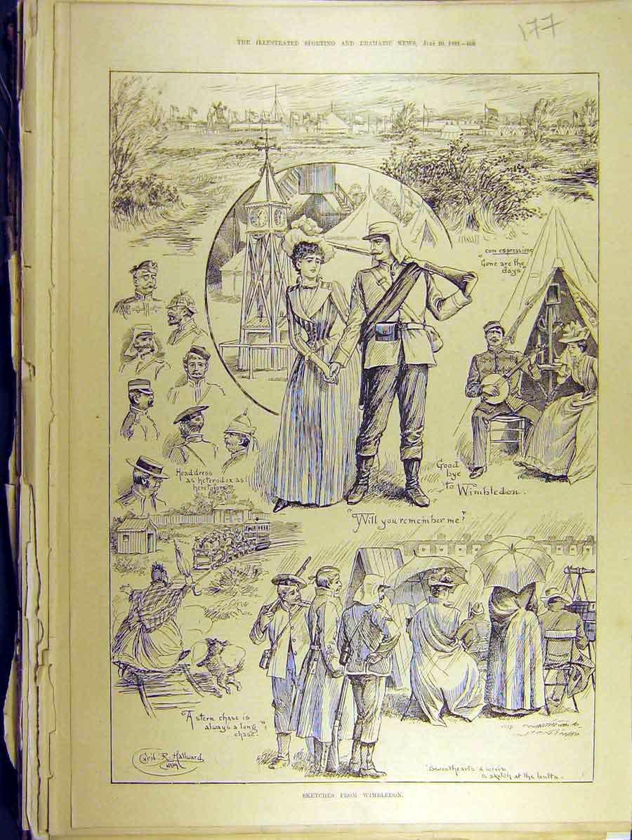 Print 1889 Sketches Wimbledon Hallward Soldiers Headdress 778771 Old Original