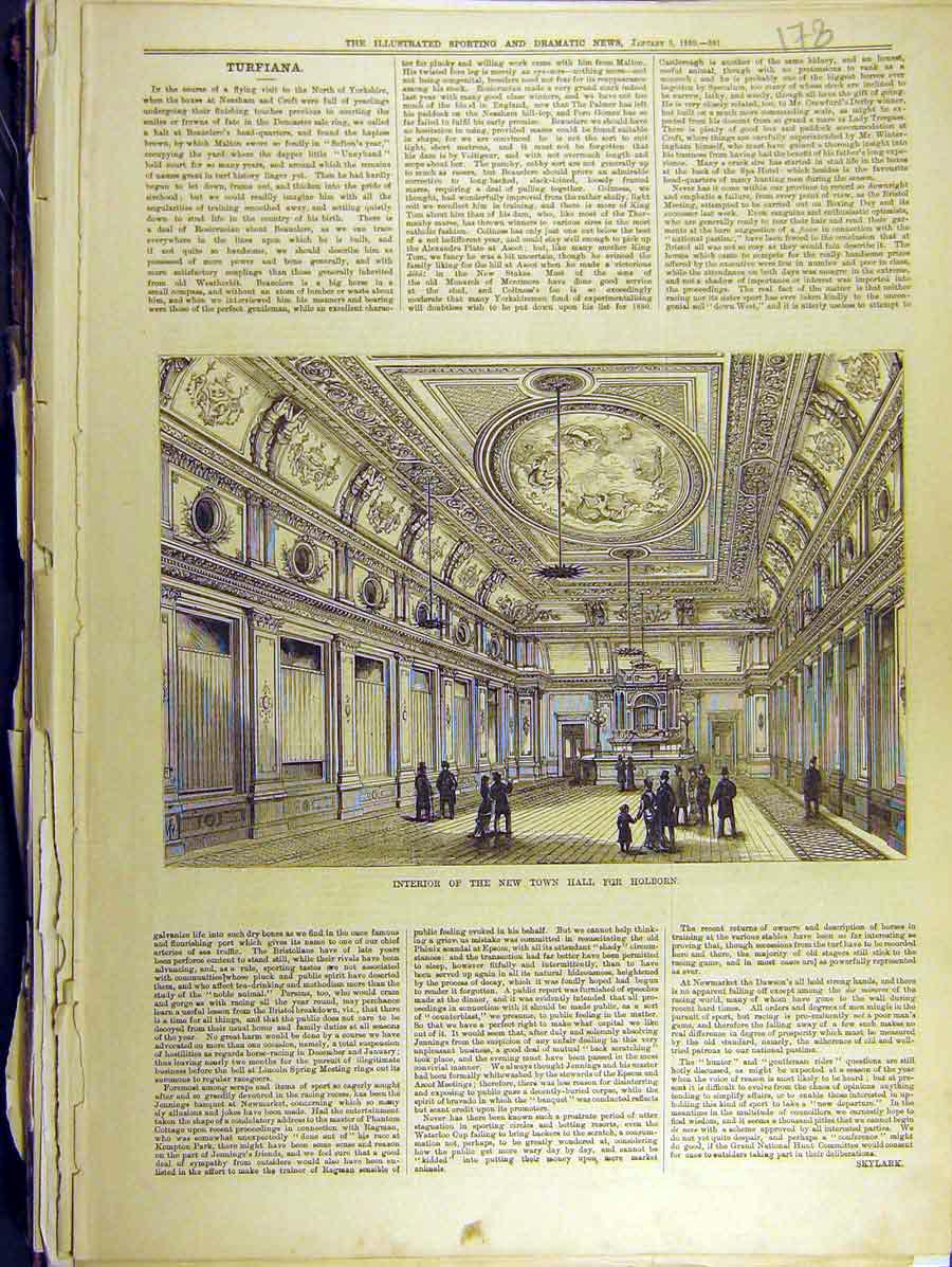 Print 1880 Interior Town Hall Holborn Turfiana 788771 Old Original