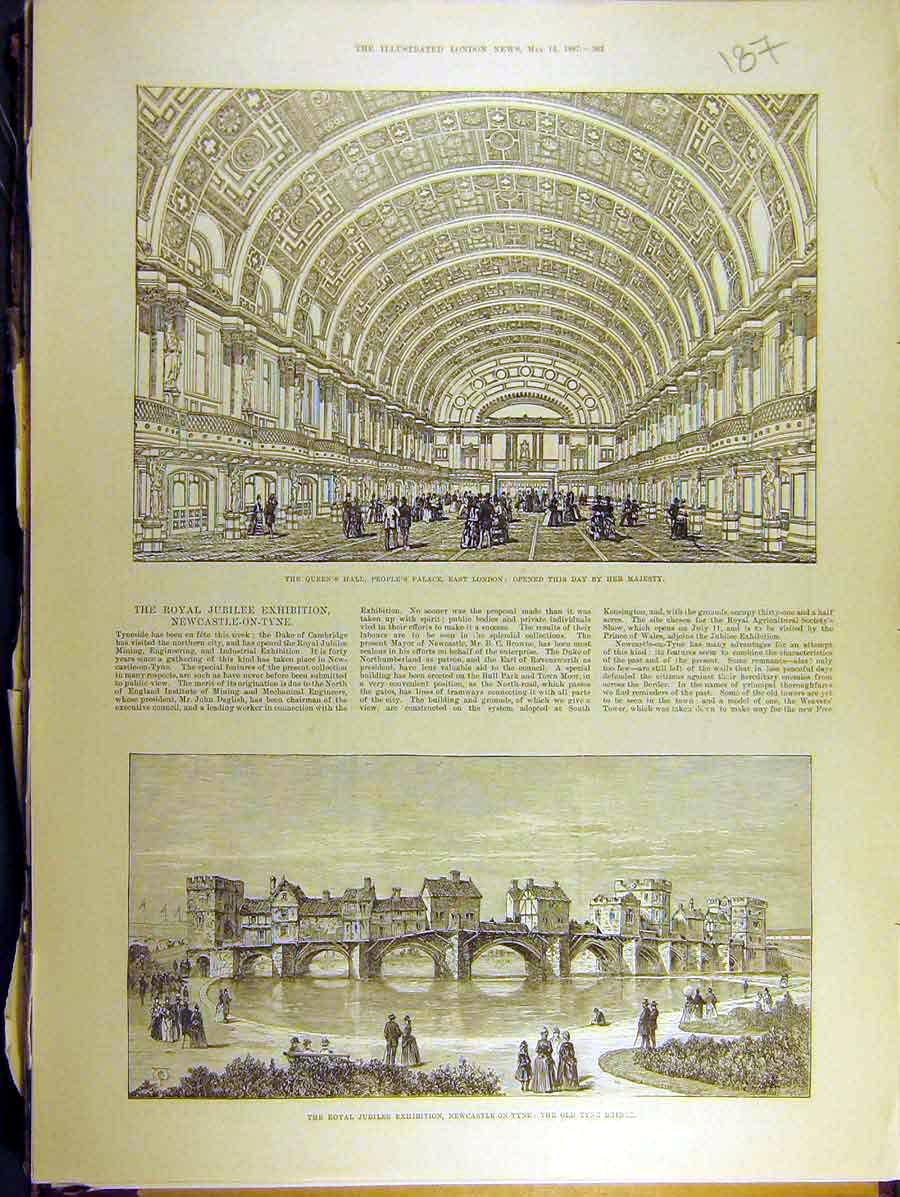 Print 1887 Queens Hall Peoples Palace London Tyne Bridge 878771 Old Original