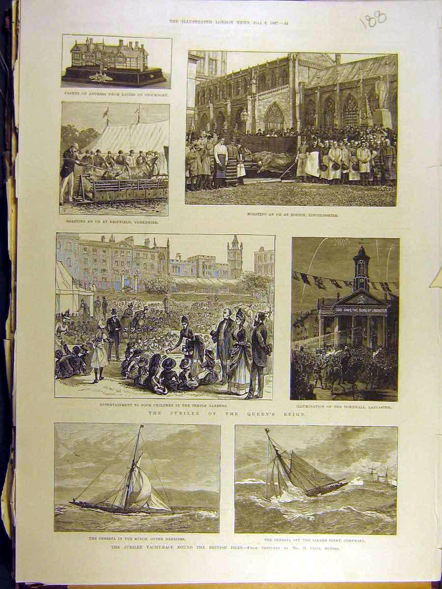 Print 1887 Jubilee Yacht Race British Isles Yorks Lincs 888771 Old Original