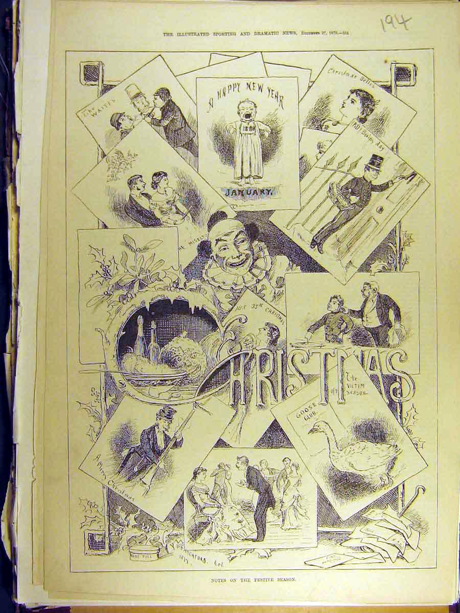 Print 1879 Notes Festive Season Sketches 948771 Old Original