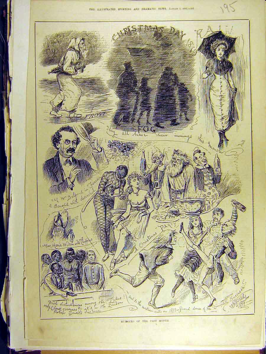 Print 1880 Humour Sketches December Marie Wilton 958771 Old Original