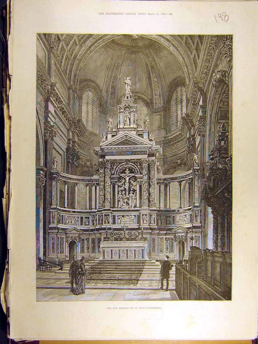 Print 1888 New Reredos St. Pauls Cathedral Dome Carving 988771 Old Original