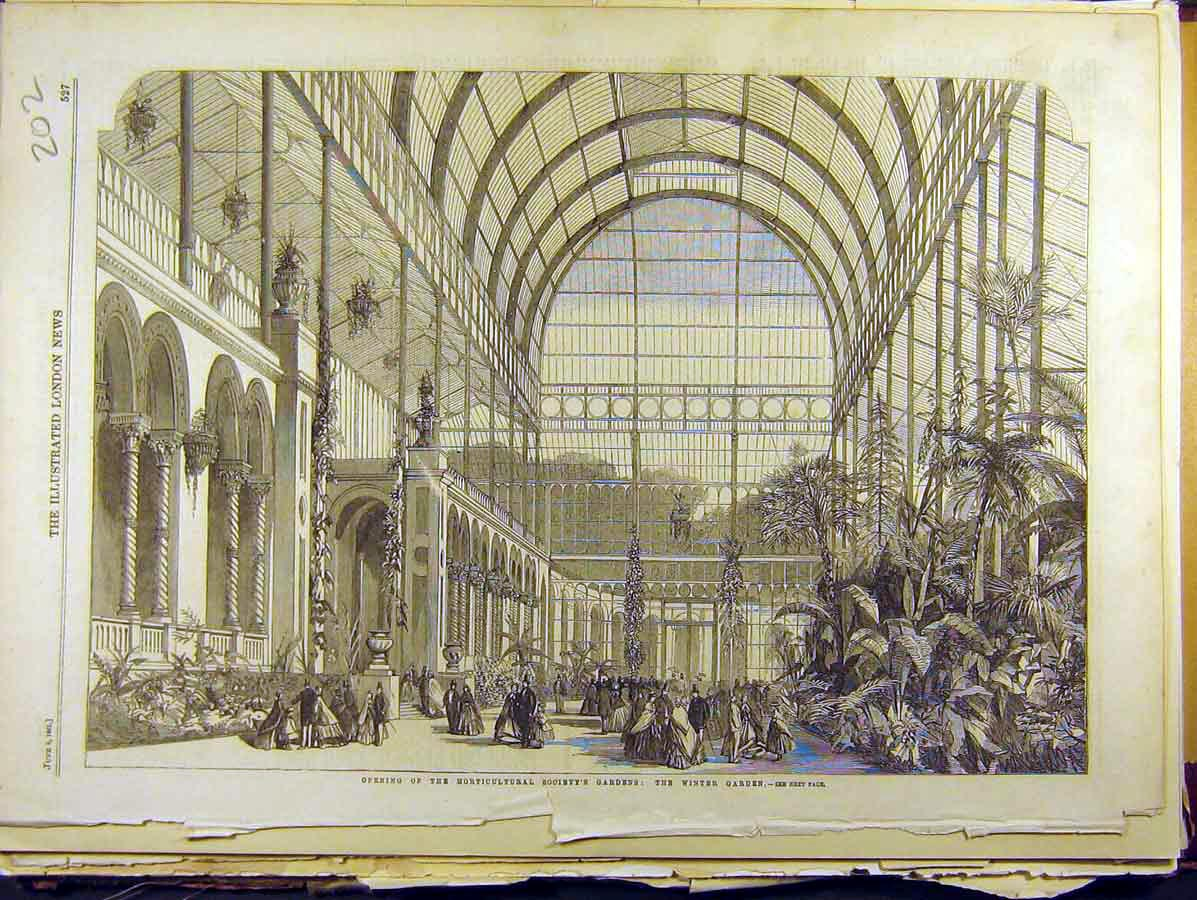 Print 1861 Opening Horticultural Society'S Gardens Winter 028771 Old Original