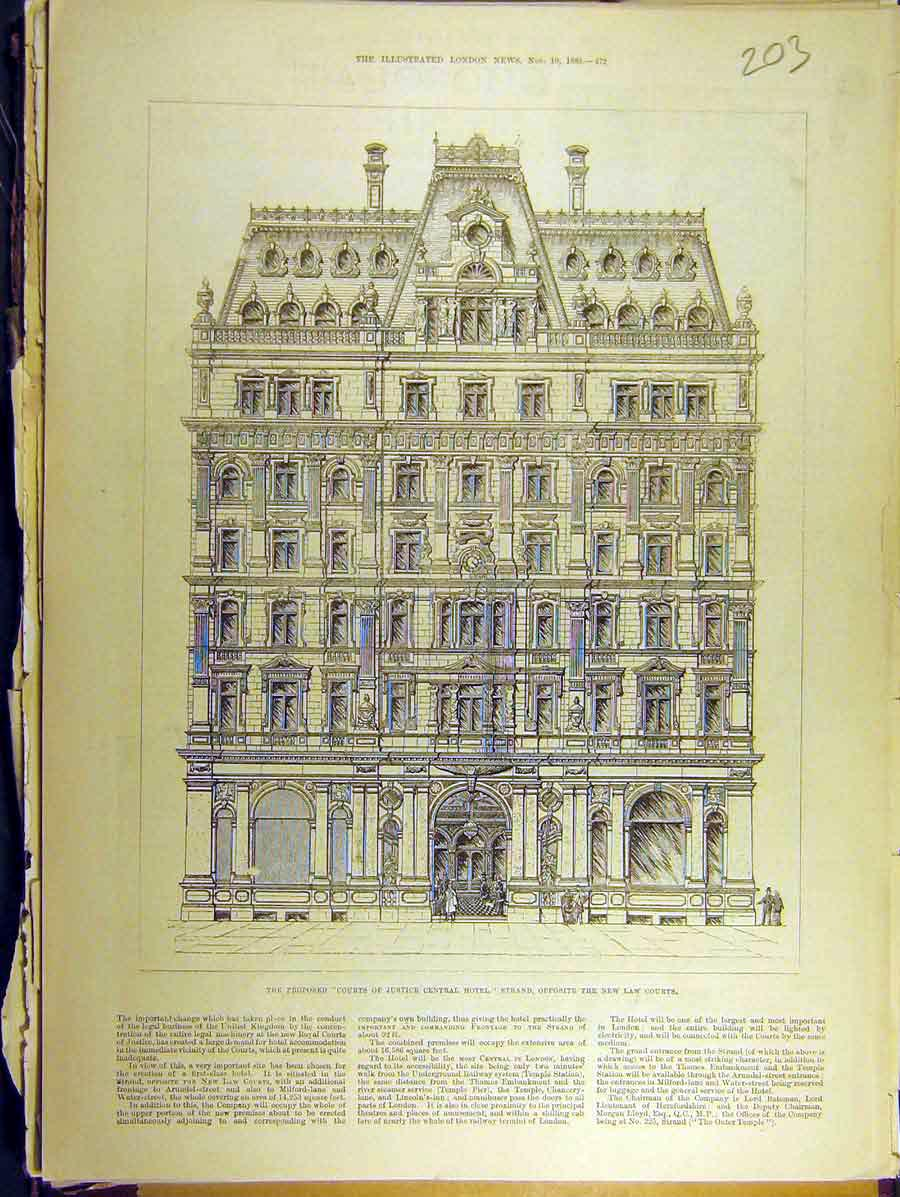Print 1883 Courts Justice Hotel Strand Law Building 038771 Old Original