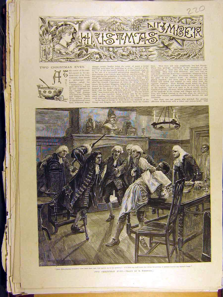 Print 1888 Two Christmas Eves St. Ives Story Barber 208771 Old Original