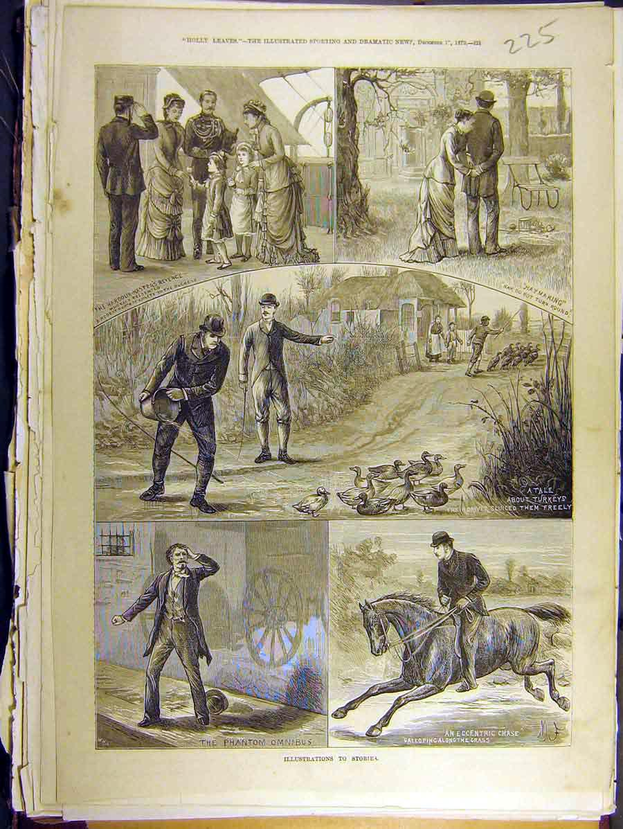 Print 1879 Holly Leaves Stories Phantom Haymaking 258771 Old Original