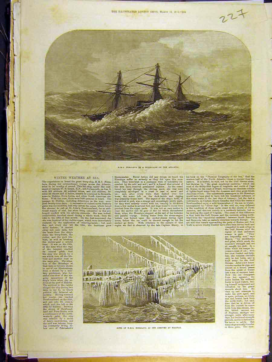 Print 1873 Winter Weather At Sea Hms Himalaya Atlantic 278771 Old Original