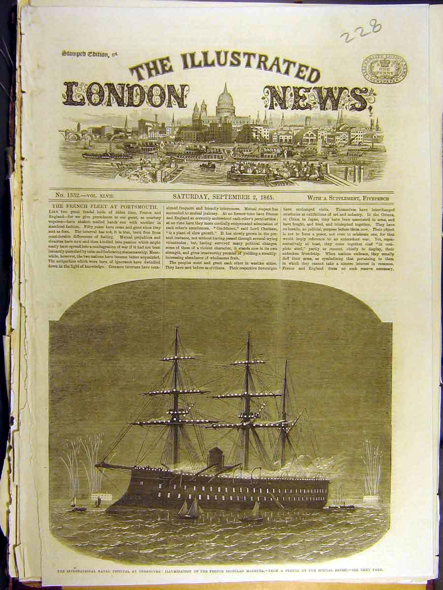 Print 1865 Cherbourg Illuminations French Ship Magenta 288771 Old Original