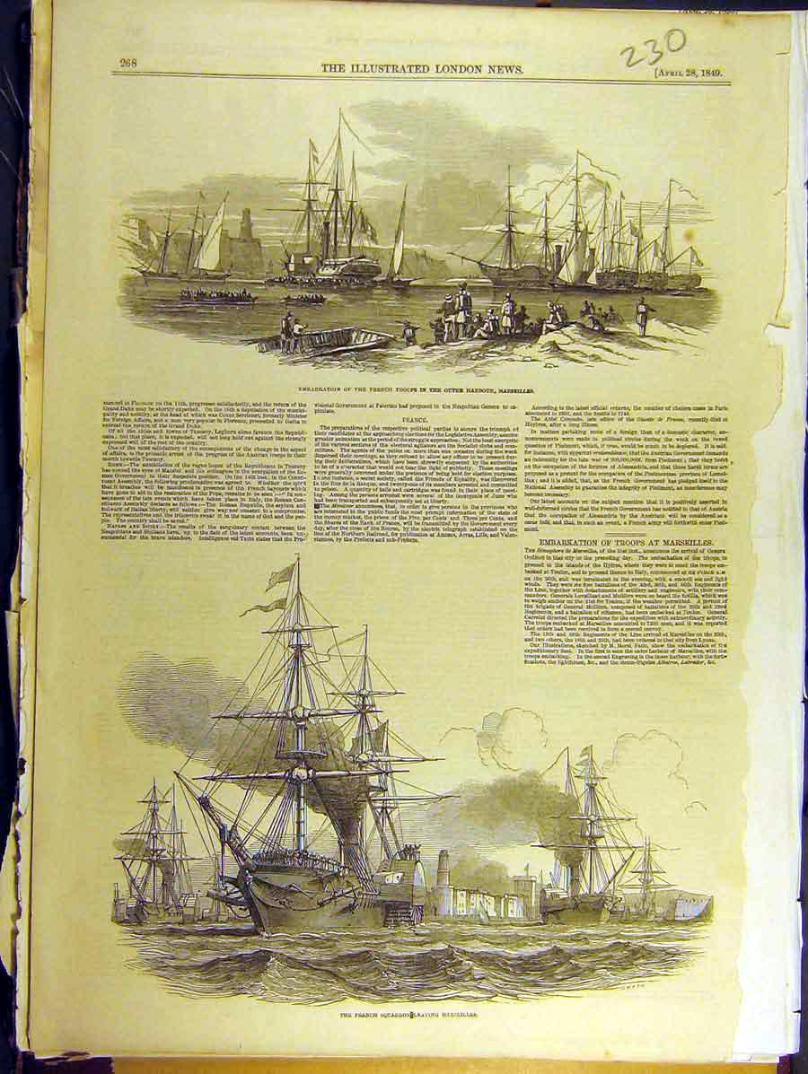Print 1849 French Squadron Fleet Marseilles Troops Harbour 308771 Old Original