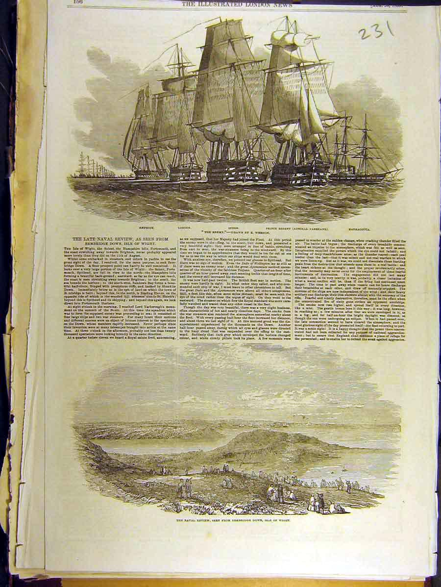 Print 1853 Naval Review Bembridge Down Isle Of Wight 318771 Old Original