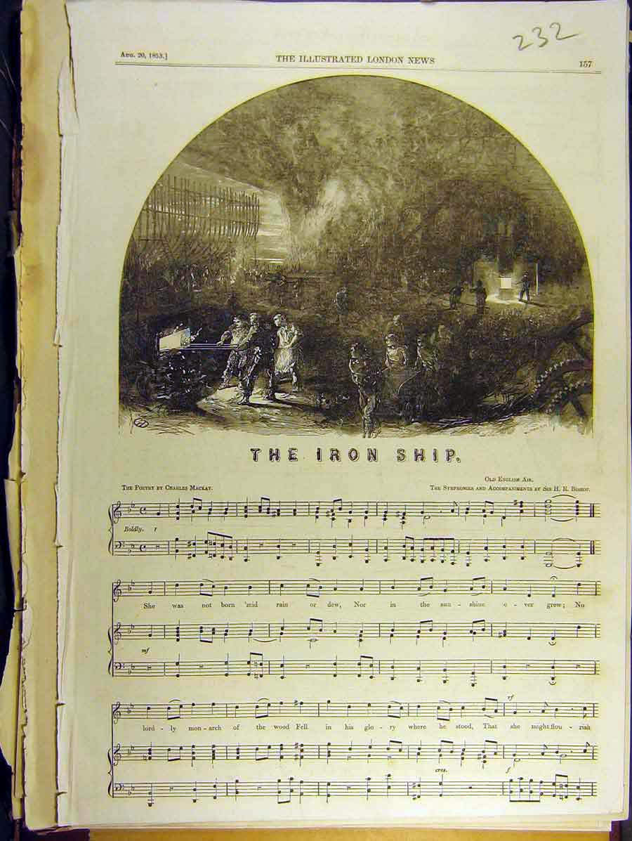 Print 1853 Iron Ship Poetry Charles Mackay Bishop Score 328771 Old Original