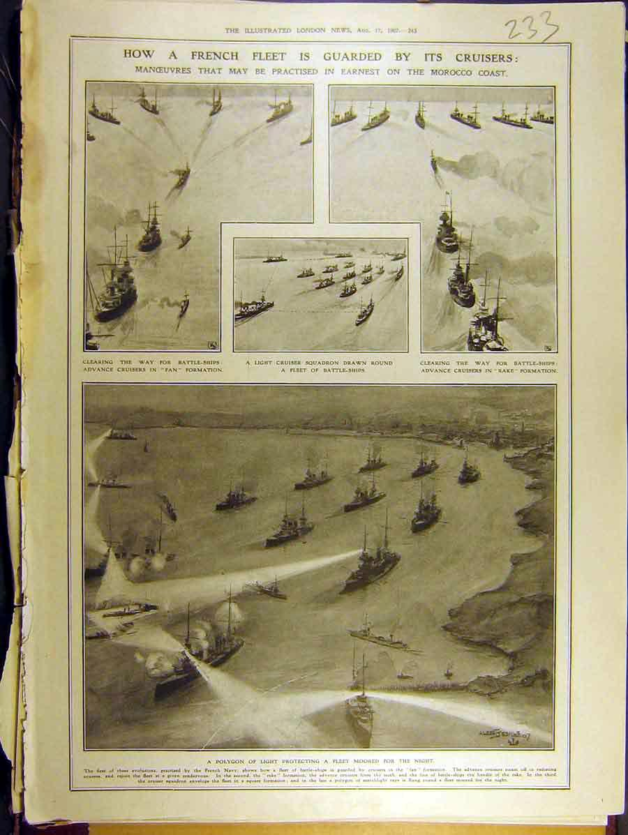 Print 1907 French Fleet Cruiser Morocco Coast Polygon Light 338771 Old Original