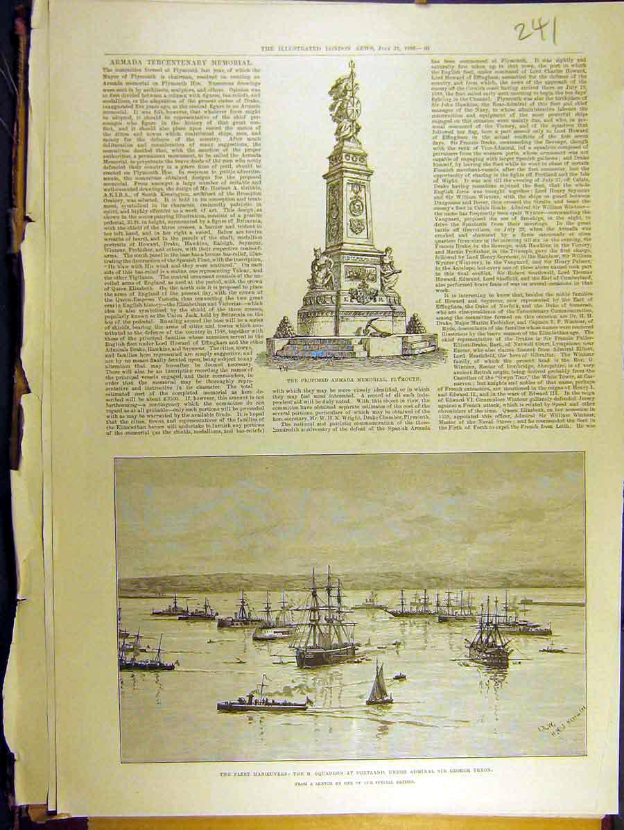 Print 1888 Rmada Memorial Plymouth Portland Fleet Ship 418771 Old Original